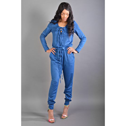 Blue/Green Tie Front Drawstring Jumpsuit - jumpsuit