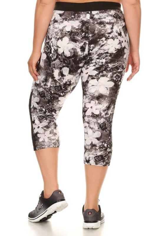 Brushed Floral Print Activewear Leggings - Plus Activewear Leggings