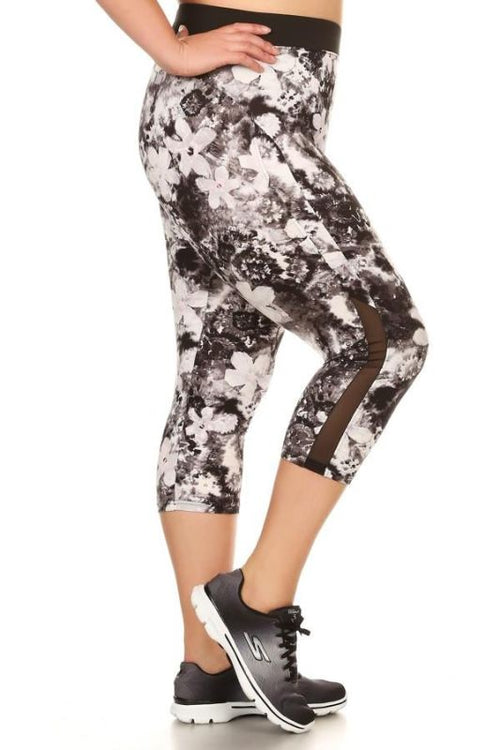 Brushed Floral Print Activewear Leggings - Plus 1Xl Activewear Leggings