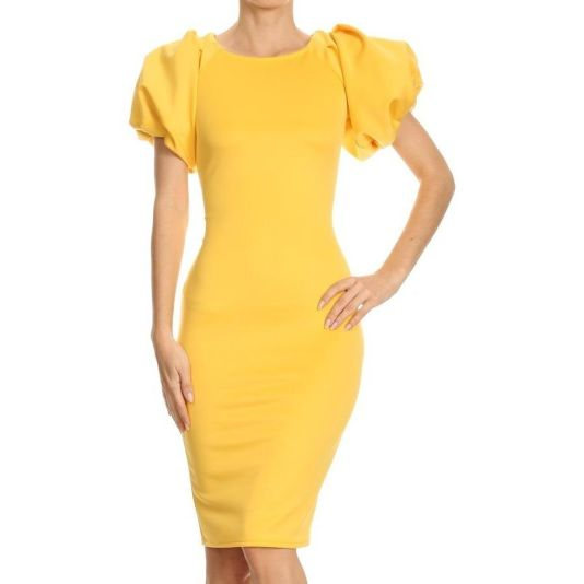 Bubble Sleeve Midi Dress S(2/4) / Yellow