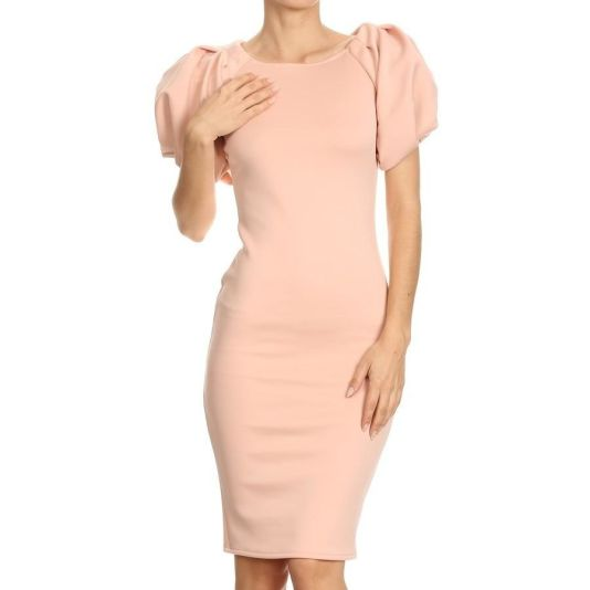Bubble Sleeve Midi Dress S(2/4) / Blush