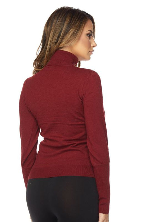 Burgundy Bubble Sleeve Turtleneck Sweater - SWEATER