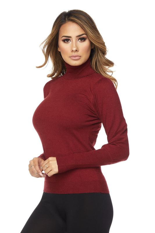 Burgundy Bubble Sleeve Turtleneck Sweater S(2-4) Sweater