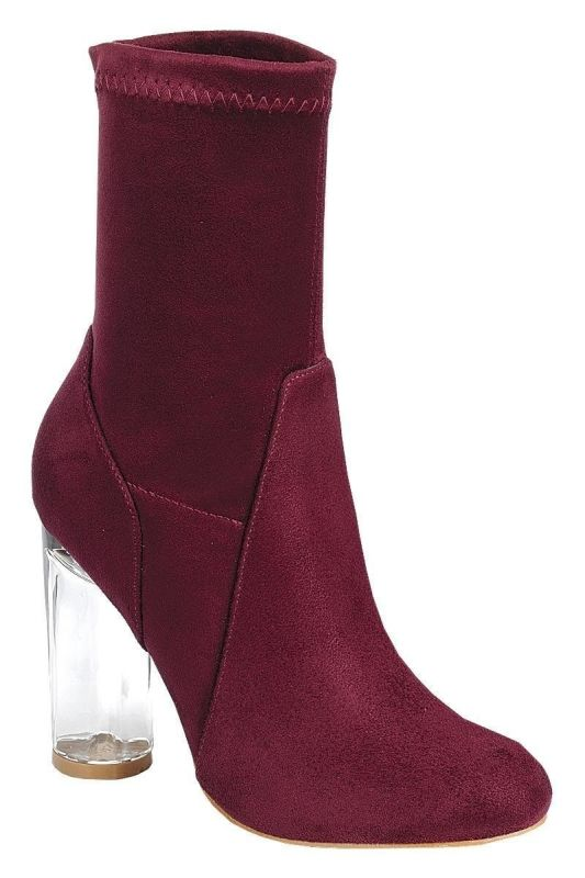 Burgundy Faux Suede Clear Heel Bootie - shoes