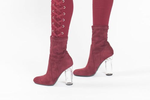 Burgundy Faux Suede Clear Heel Bootie Shoes