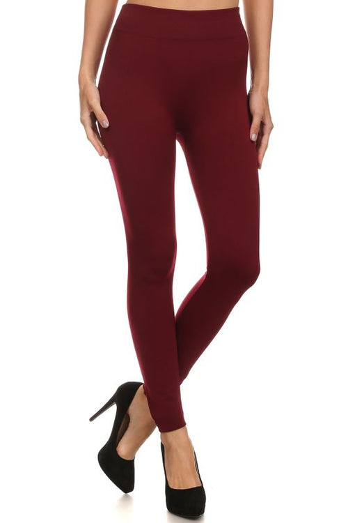 Burgundy Fleece Lined Leggings Pant