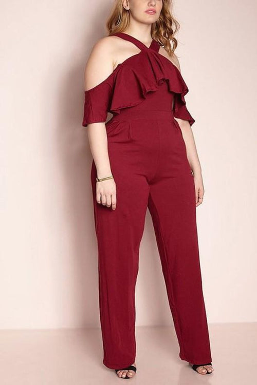 Burgundy Halter Jersey Knit Jumpsuit (Plus) 1X Jumpsuit