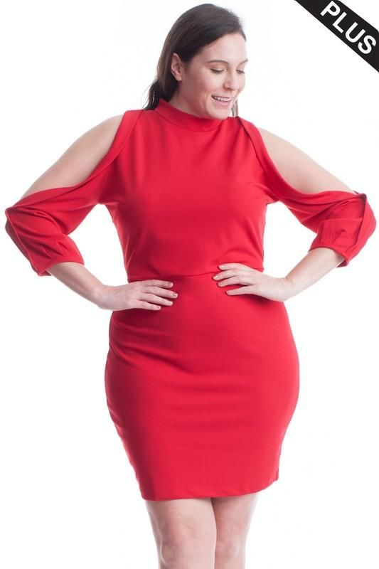 Carly Cold Shoulder Bodycon Dress . - Plus/curvy Red / 1X(12/14)