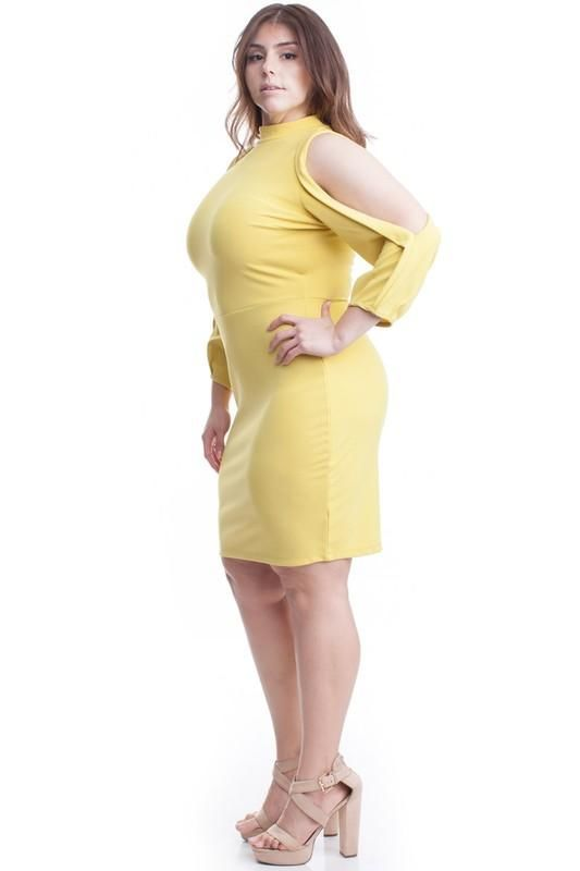 Carly Cold Shoulder Bodycon Dress . - Plus/curvy
