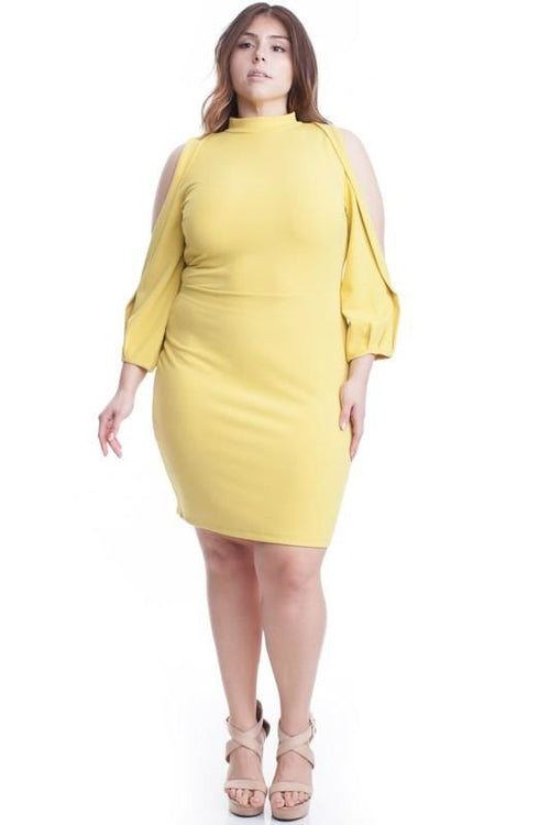 Carly Cold Shoulder Bodycon Dress . - Plus/curvy Tea Leaf / 1X(12/14)