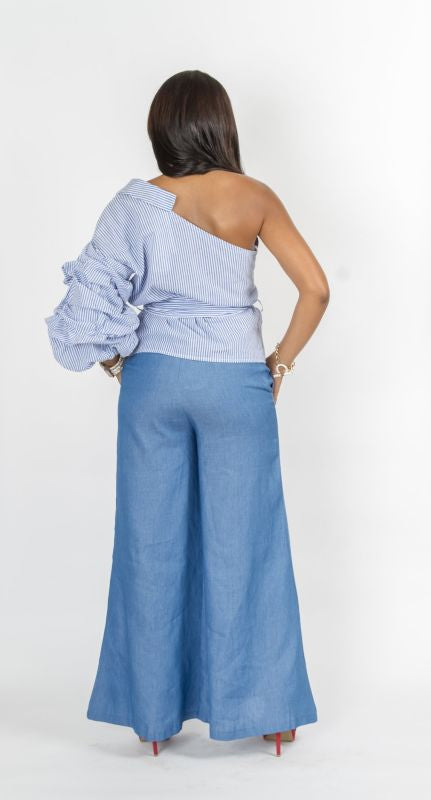 Chambray Denim Wide Leg Pant Pant