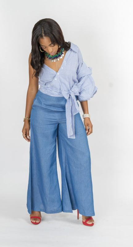 Chambray Denim Wide Leg Pant S(2-4) Pant