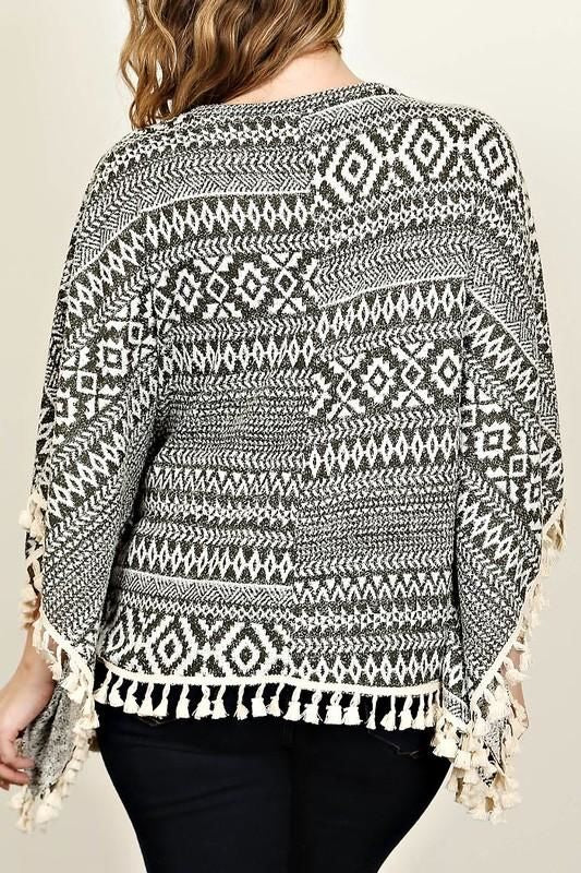 Charcoal And White Aztec Poncho Sweater With Lace Crotchet Fringe Plus Top