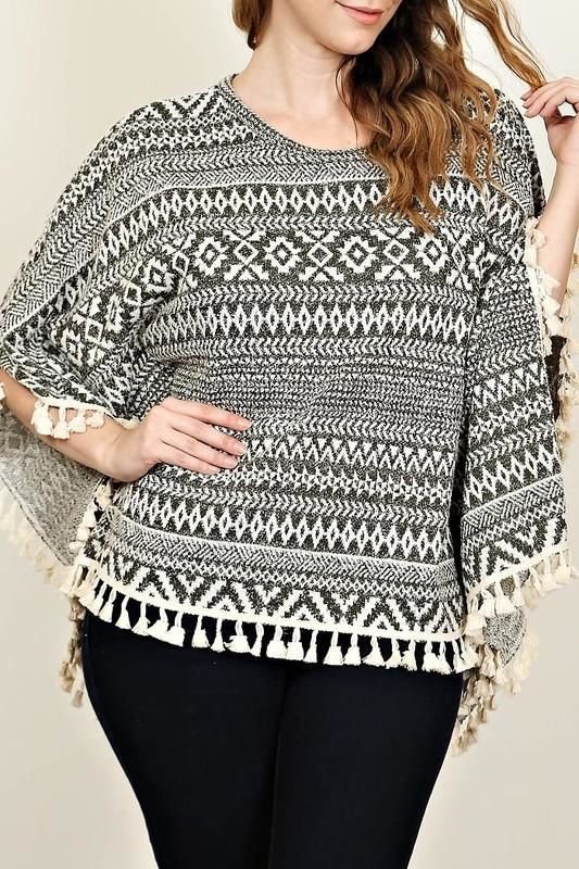 Charcoal And White Aztec Poncho Sweater With Lace Crotchet Fringe Plus 1Xl Top