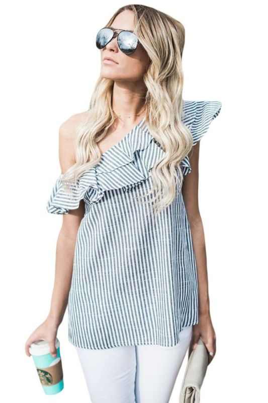 Charcoal Grey & White Striped One Shoulder Ruffle Linen Top S(4-6) Top