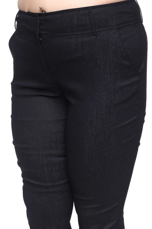 Chic Plus Sized Shiny Skinny Trousers Formal Pants 1X Pant