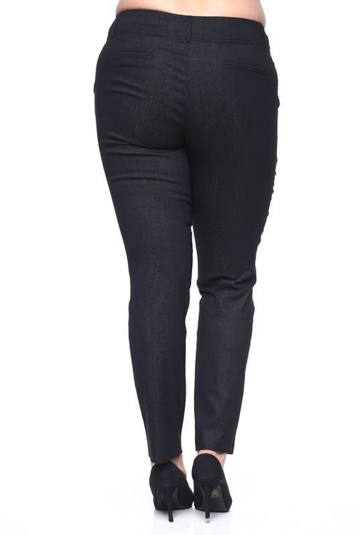 Chic Plus Sized Shiny Skinny Trousers Formal Pants Pant