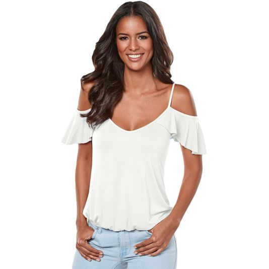 Crisscross Back Ruffle Cold Shoulder Top Top