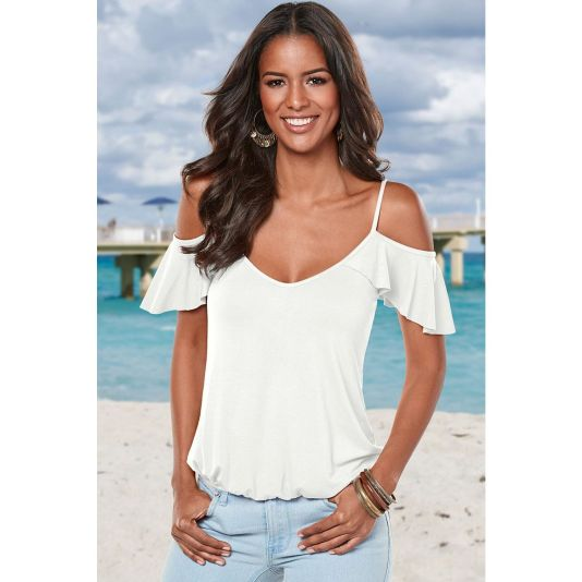 Crisscross Back Ruffle Cold Shoulder Top White / S Top