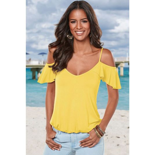 Crisscross Back Ruffle Cold Shoulder Top Yellow / S Top
