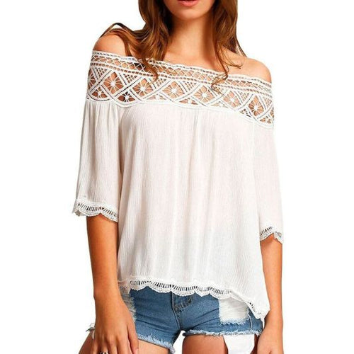 Crochet Lace Trim Off Shoulder Crepe Blouse L / White Top