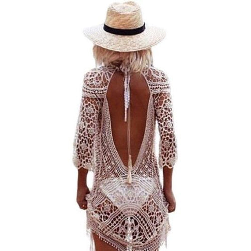 Crochet Open Back Swimsuit Cover Up Cover Up