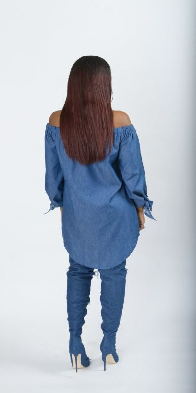 Dark Denim Off Shoulder Button Down Shirt Dress