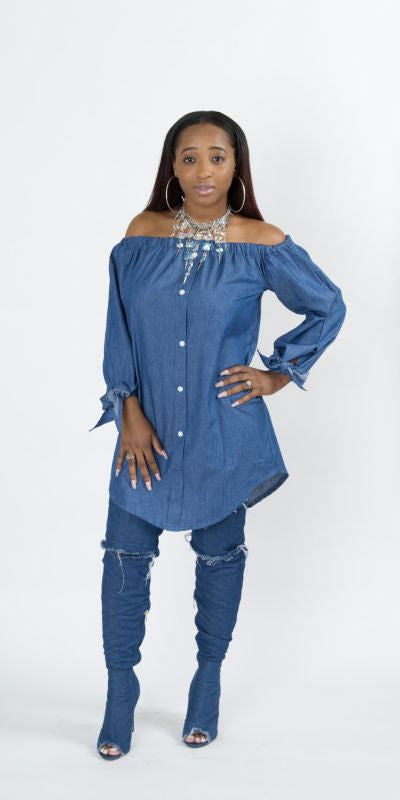 Dark Denim Off Shoulder Button Down Shirt Dress L / Dark Denim