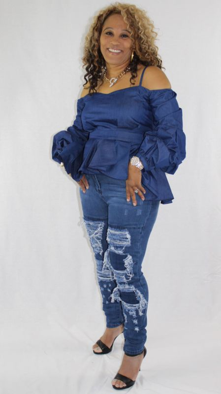 Preferred Denim Off Shoulder Bubble Sleeve Peplum Top – shopslayplay.com IB79