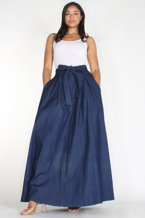 Denim Flat Panel Box Pleat Maxi Skirt