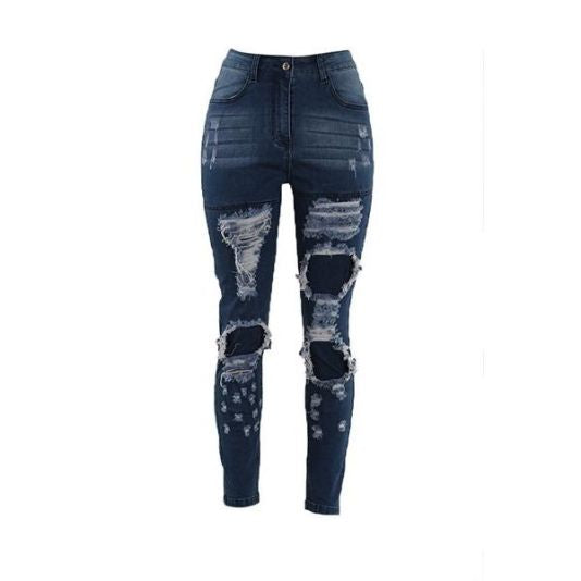 Distressed Covered Ripped Denim Jeans Jeans