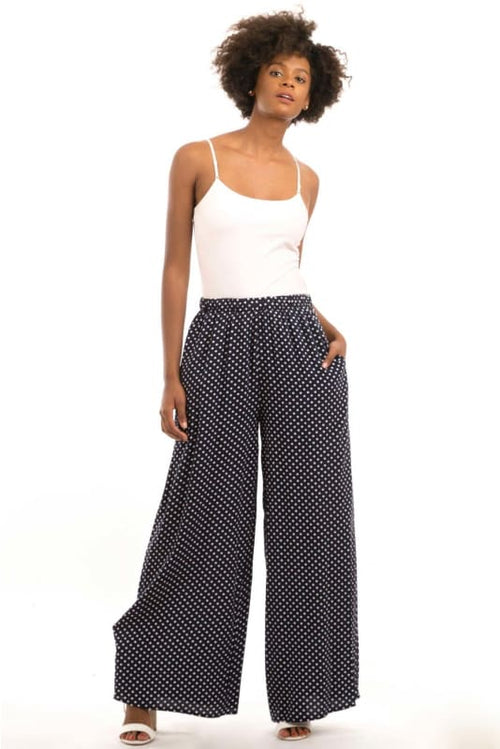 Dotted In Blue Polka Dot Wide Leg Palazzo Pants Jacket