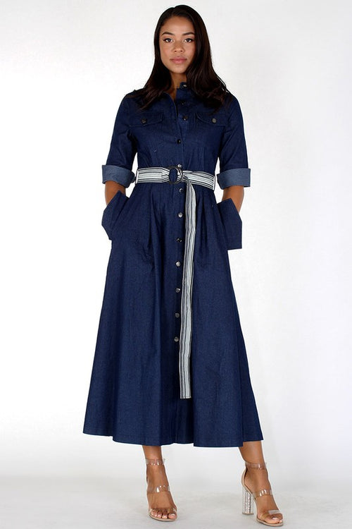 Two Toned Solid & Striped Denim Maxi Dress - PLUS