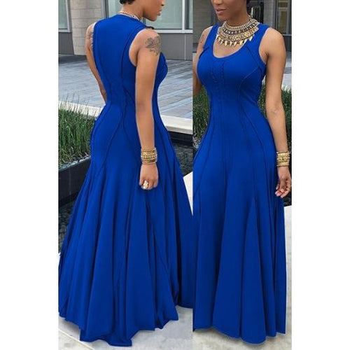Elegant Outstitch Jersey Maxi Dress Royal Blue / S