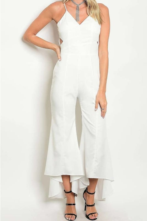 Eva White Off Shoulder V Neck Bell Bottom Jumpsuit Jumpsuit