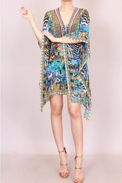 Exotic Print Kaftan Cover Up Dress Dress