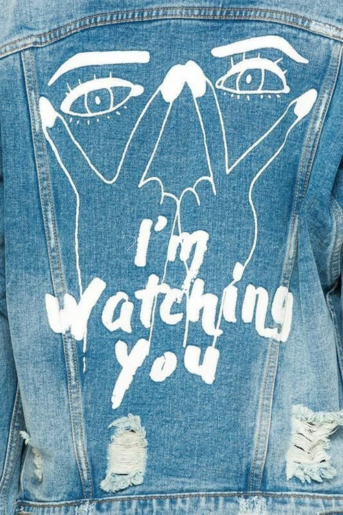 Eyes On You Distressed Denim Jacket S Jacket