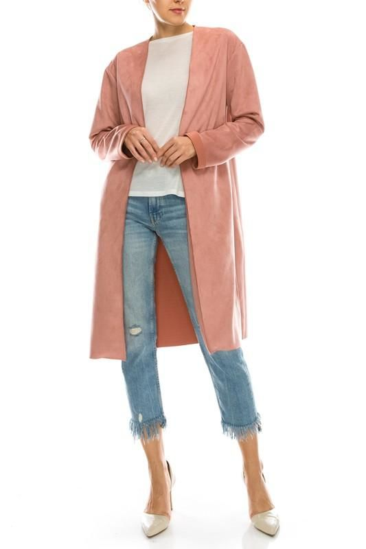 Faux Suede Midi Coat S(4-6) Jacket