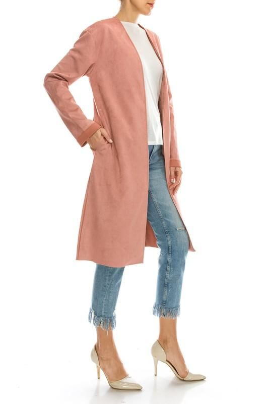 Faux Suede Midi Coat Jacket