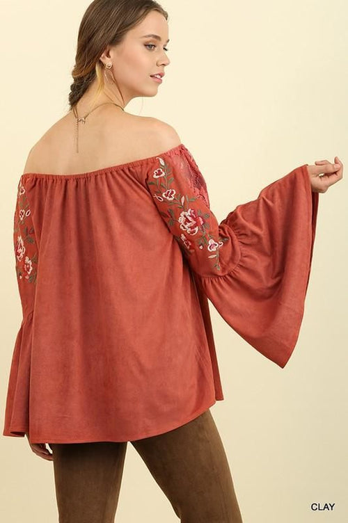 Faux Suede Off Shoulder Embroidered Bell Sleeve Top - Plus/curvy Top