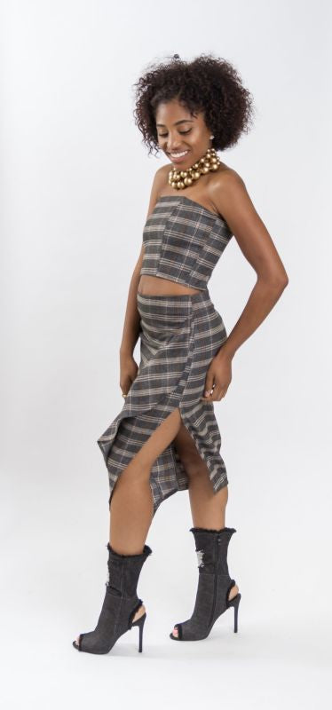 Felicity Plaid Tube Top Top