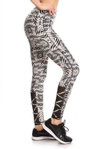 Geometric Print Strappy Calf Activewear Leggings S(2-4) Activewear Leggings