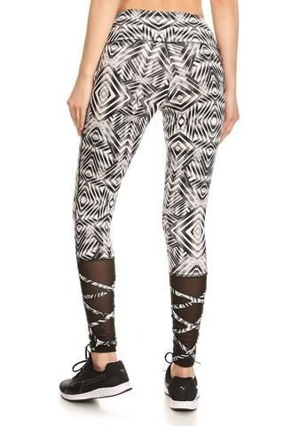 Geometric Print Strappy Calf Activewear Leggings Activewear Leggings