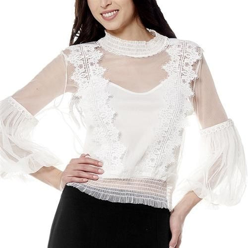 Grace Off White Mesh With Lace Bubble Sleeve Top S(0-2) Top