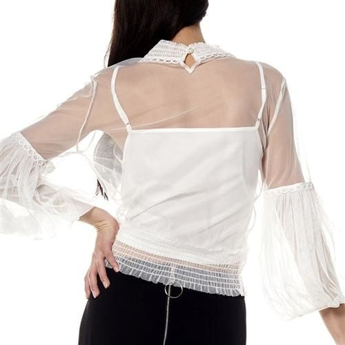 Grace Off White Mesh With Lace Bubble Sleeve Top Top