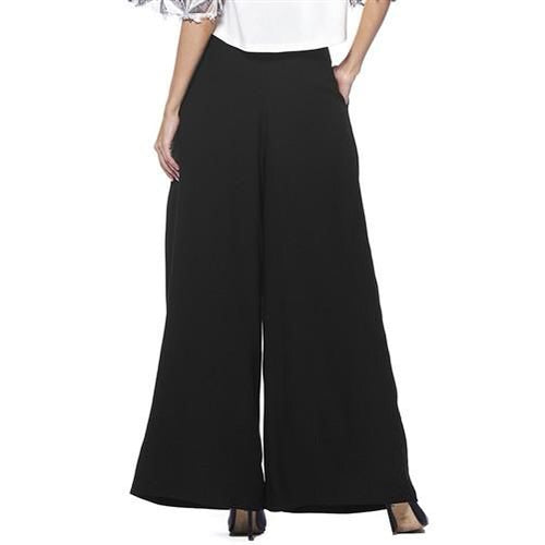 Gracia Black Crepe Wide Leg Pant - Plus Pant