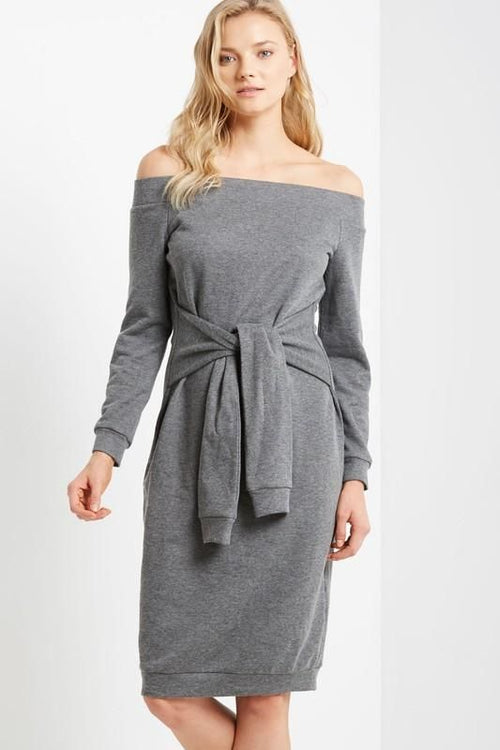 Grey Off Shoulder Tie Waist Sweatshirt Dress Sizes: S(4-6) Dress