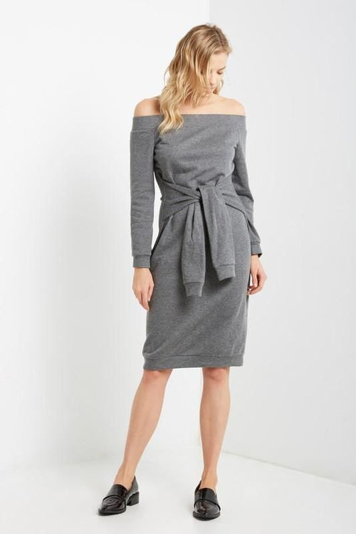 Grey Off Shoulder Tie Waist Sweatshirt Dress Dress