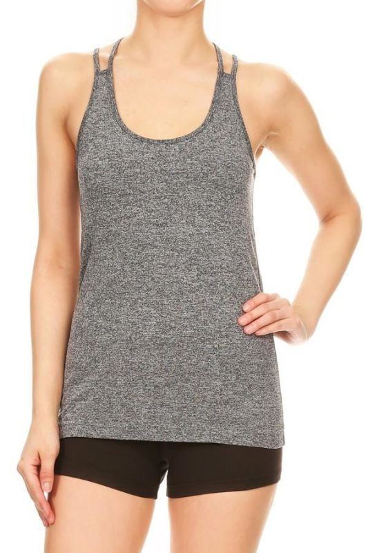 Grey Scoop Neck Activewear Tank - ACTIVEWEAR TOP
