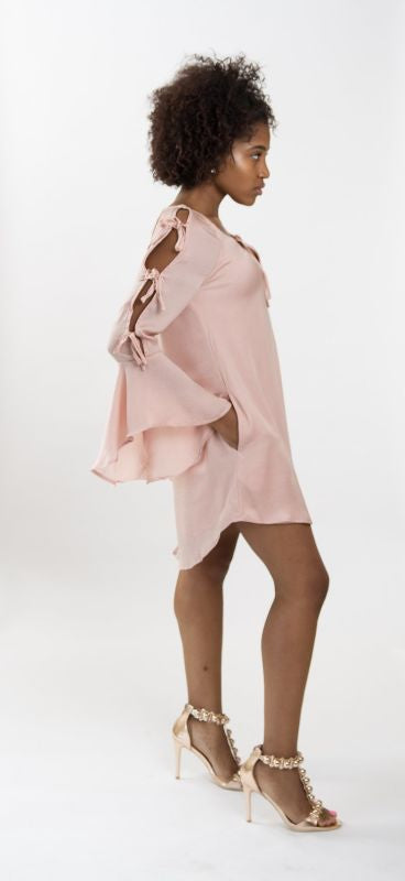 Haylee Lustrous Silky Ruffle Bell Sleeve Dress